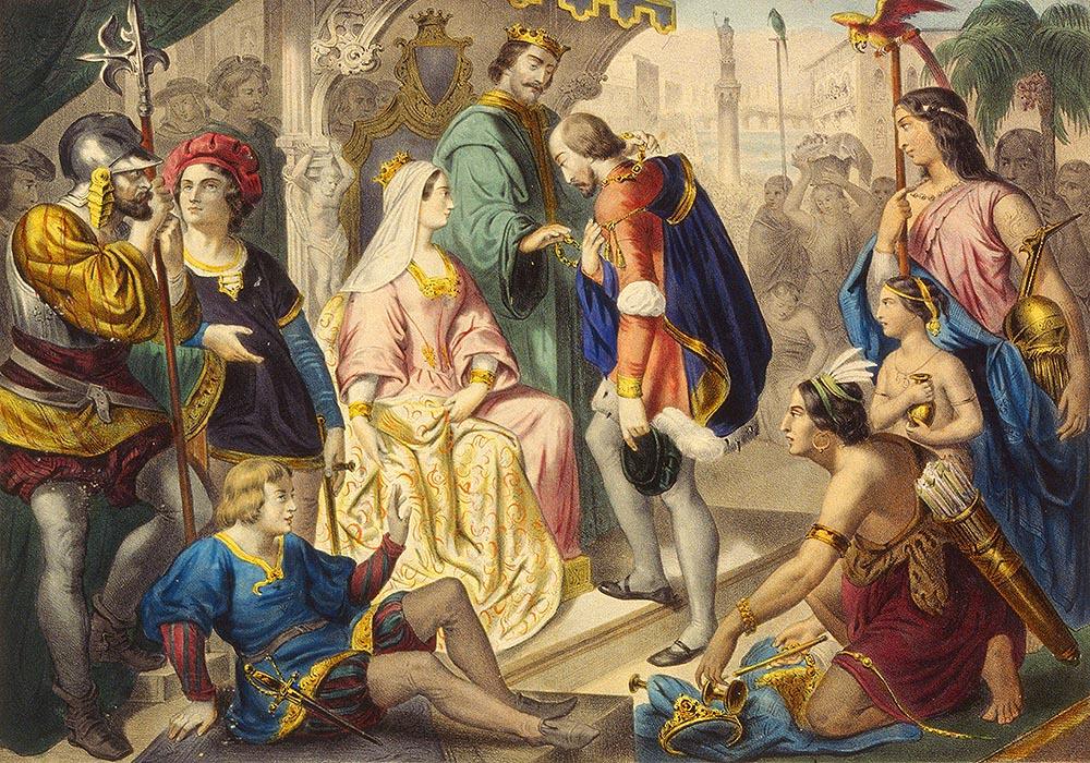 Христофор Колумб при дворе Католических королей Фердинанда II и Изабеллы I в Барселоне отчитывается о результатах первой экспедиции в Новый Свет