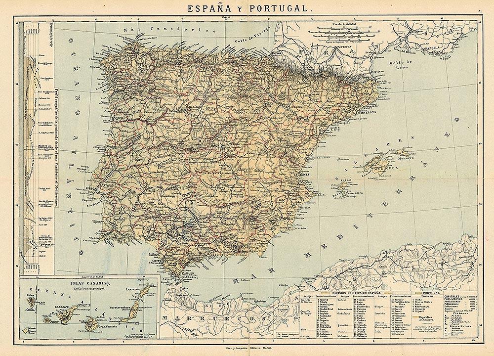 Карта Испании и Португалии 1800 года