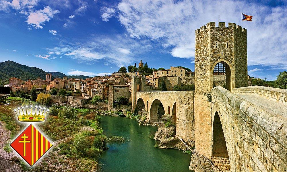 Панорама города Бесалу со стороны крепостного моста
