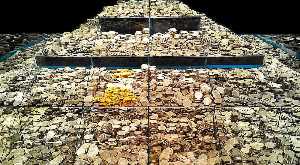 Монеты из морского клада в экспозиции Национального археологического музея г. Мадрида