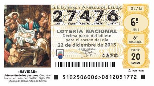 Десятая доля от билета Рождественской лотереи 2015 года