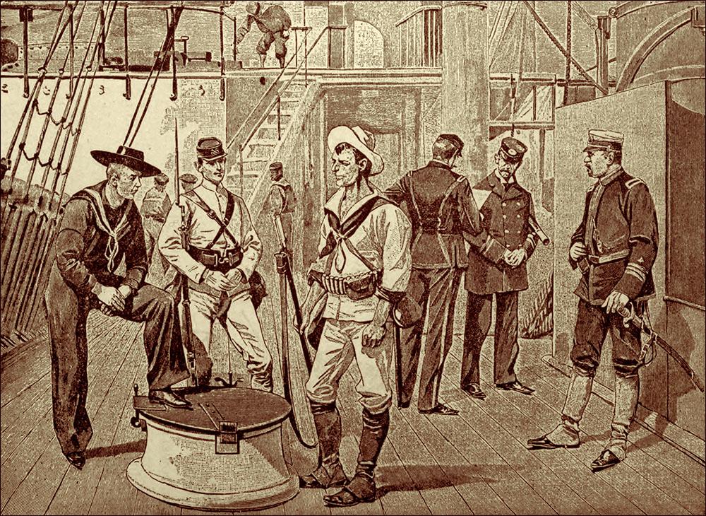 Американские морские офицеры и матросы времен Испано-американской войны 1898 года