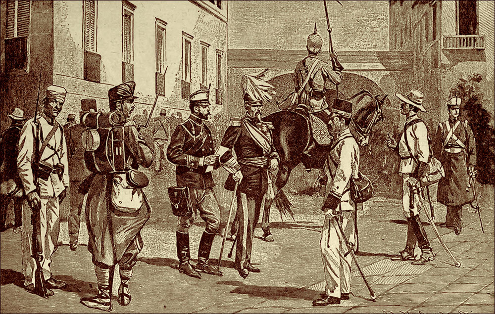Испанские сухопутные офицеры и солдаты времен Испано-американской войны 1898 года